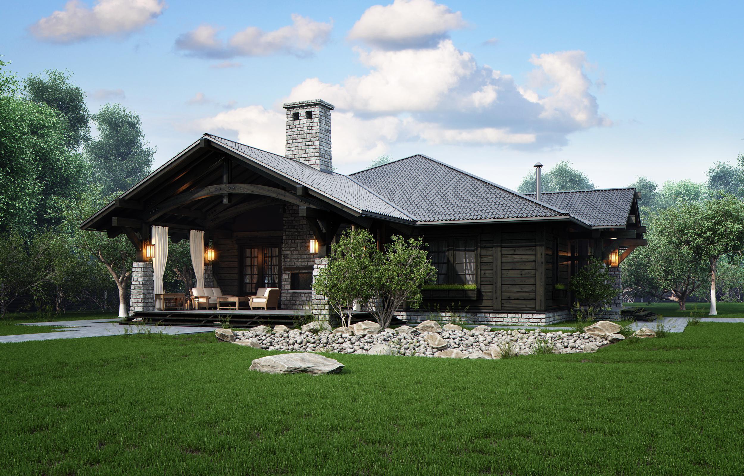 Красивый дизайн одноэтажного деревянного дома