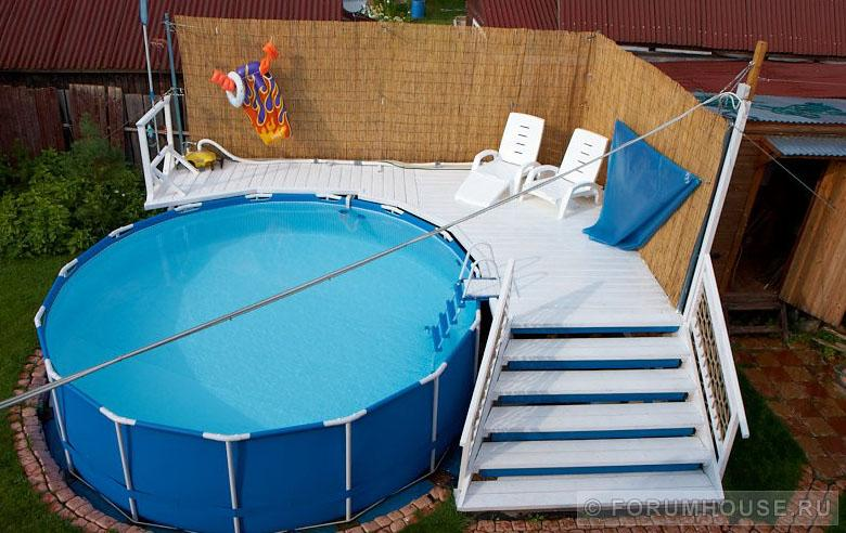 Подиум под каркасный бассейн на даче фото