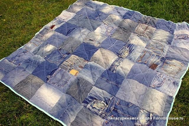Как сшить одеяло из старых джинсов
