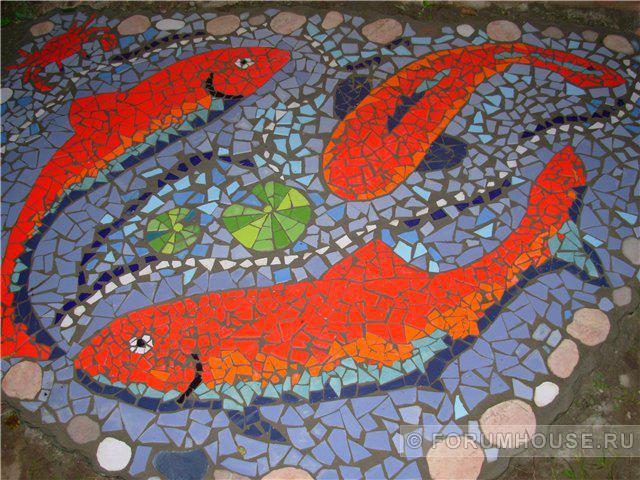 Мозаика из битой плитки  для дачи