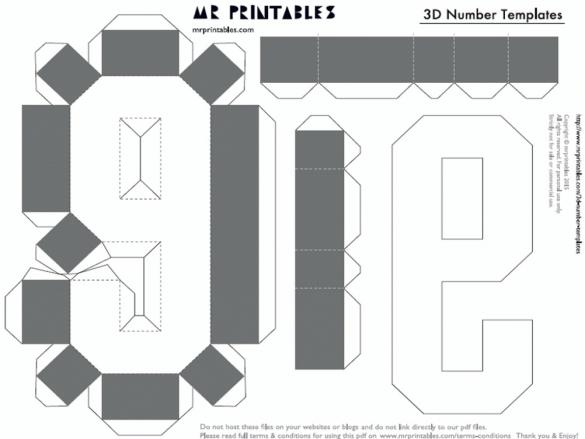 Как сделать объемные цифры из картона схемы шаблоны