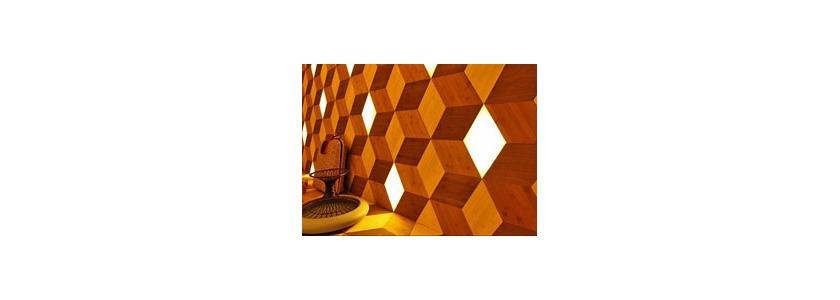 Облицовочные панели из бамбука со светодиодами