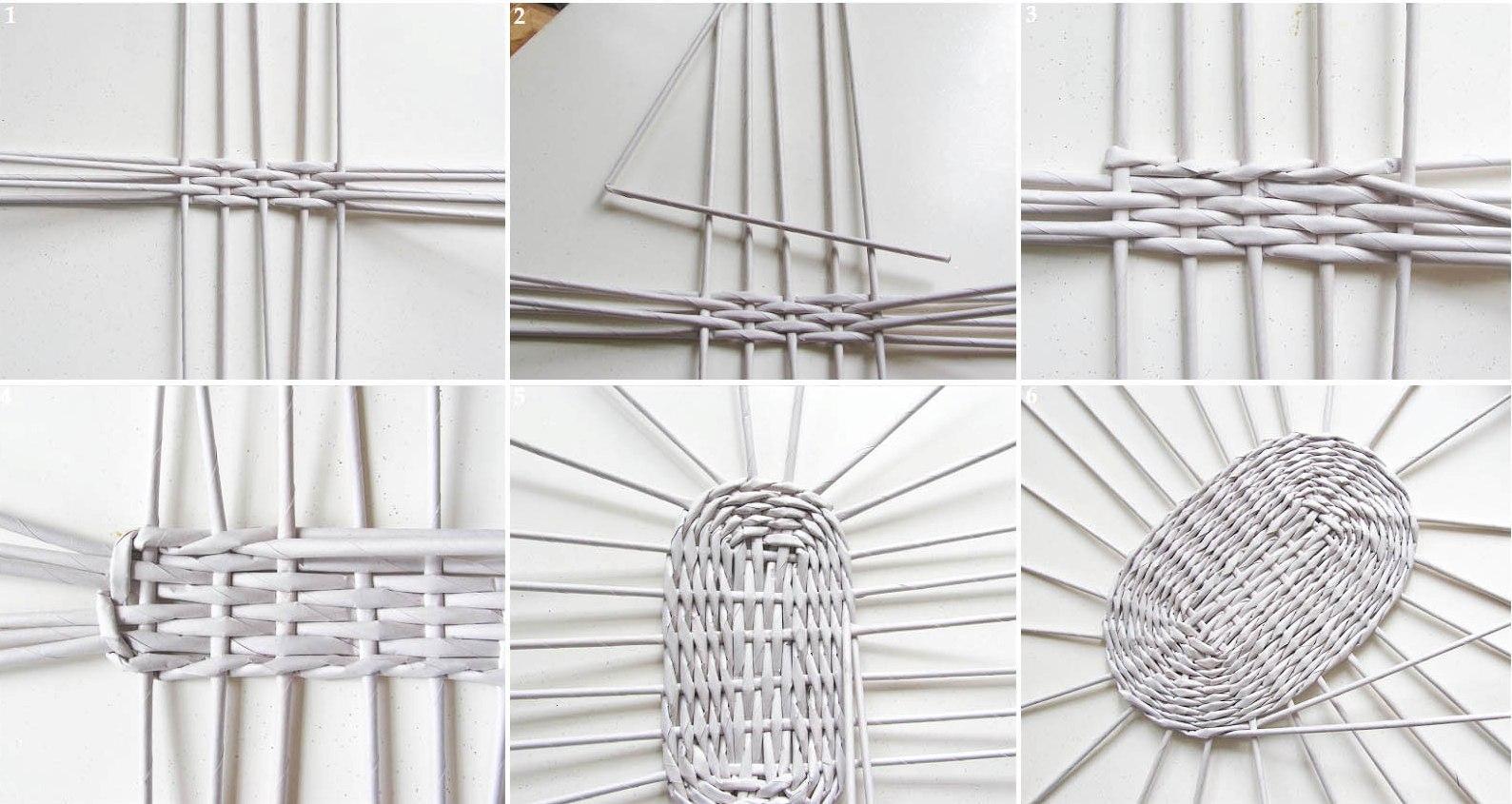поделки из гaзетных трубочек схемы