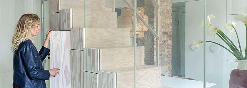 Лестница-шкаф-перегородка: расширяем пространство