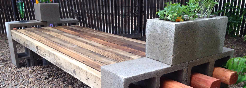 Готовые решения садовой мебели из бетонных блоков
