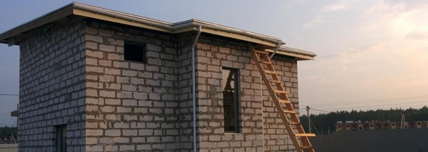 Дом из газобетона с односкатной кровлей по собственному проекту. Опыт участника портала