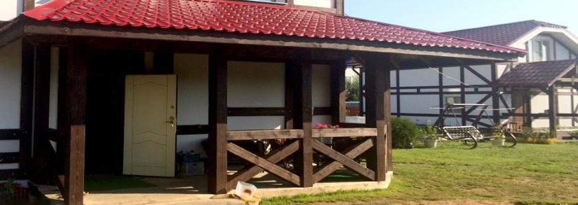 Пристройка к дому из обожжённого бруса