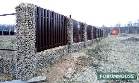 Габионы плюс евроштакетник – забор для себя
