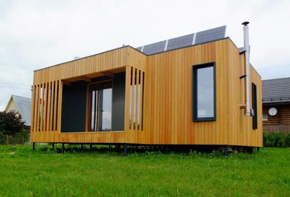 Фото небольшой модульный дом из дерева