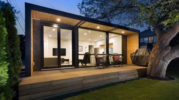 Фото красивый модульный дом со стеклянным фасадом