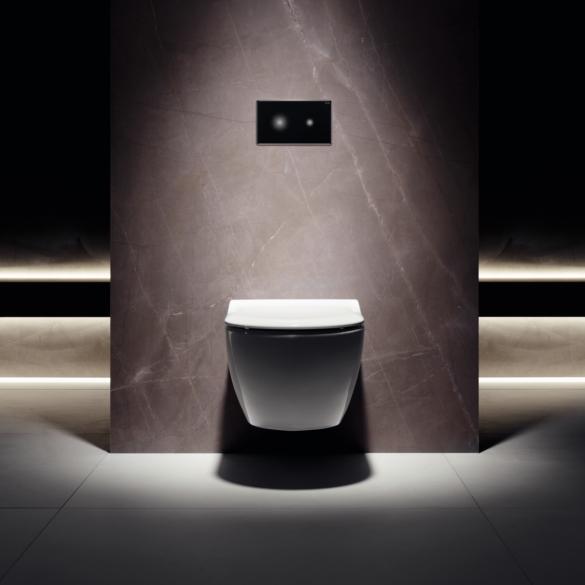 Фото подвесной унитаз с сенсорной кнопкой в интерьере ванной