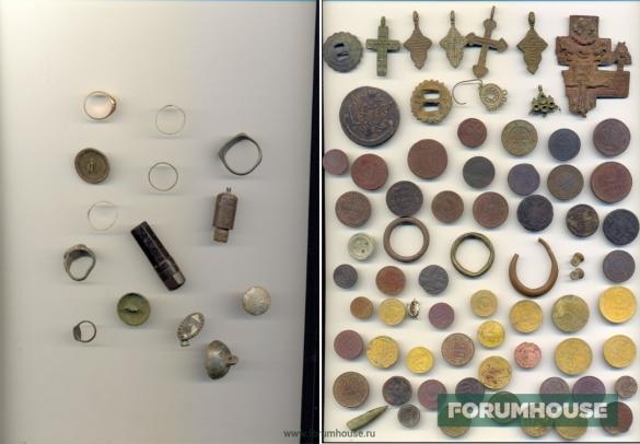 Фото коллаж находки: монеты, кольца, мелкая утварь