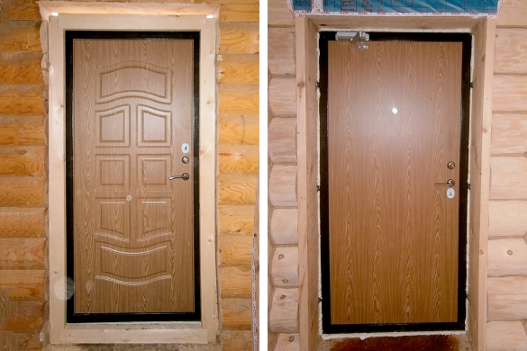 Фото окосячка входной двери в деревянном доме